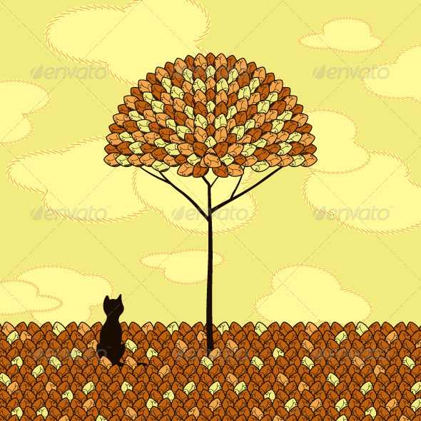 GraphicRiver Cat Lonely Tree 5352593