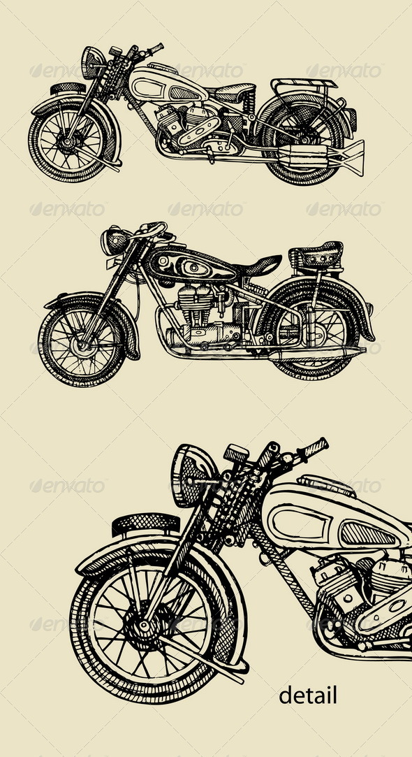 GraphicRiver Classic Motorcycle Hand Drawing 5352816