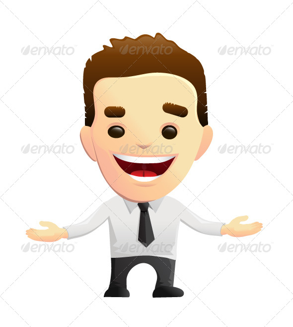 GraphicRiver Smiling Businessman Character with Open Arms 5352845