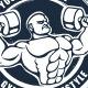 Grunge T-shirt design with bodybuilder - GraphicRiver Item for Sale