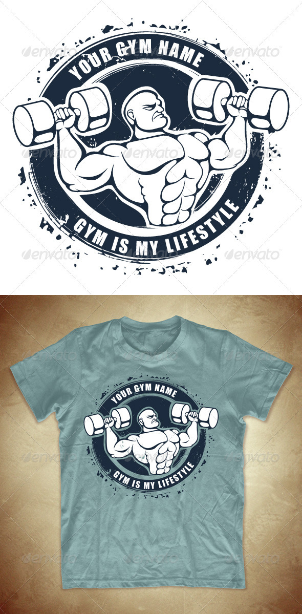 Grunge T-shirt design with bodybuilder - Sports & Teams T-Shirts