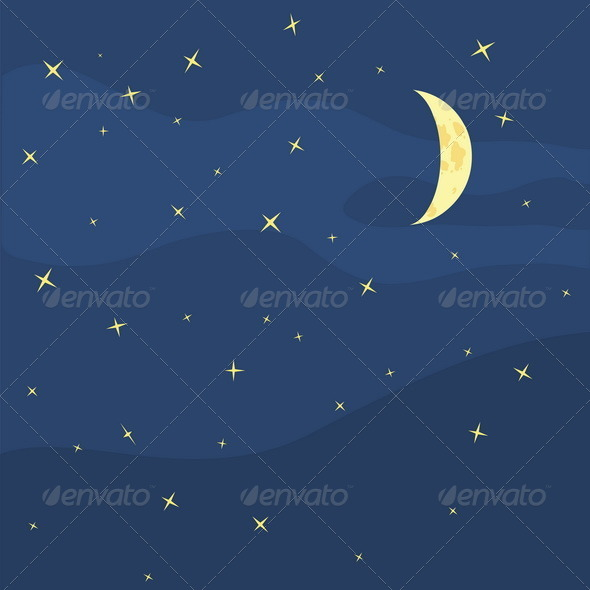 GraphicRiver Vector Night Sky Moon and Stars 5352990