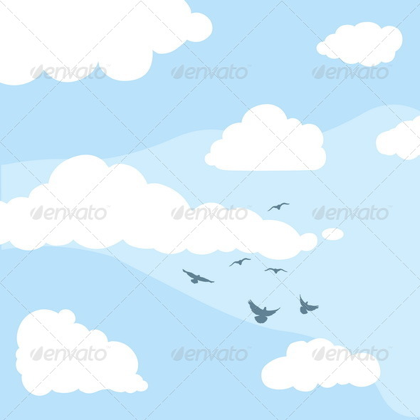 GraphicRiver Vector Daytime Sky Clouds Silhouettes of Birds 5352993