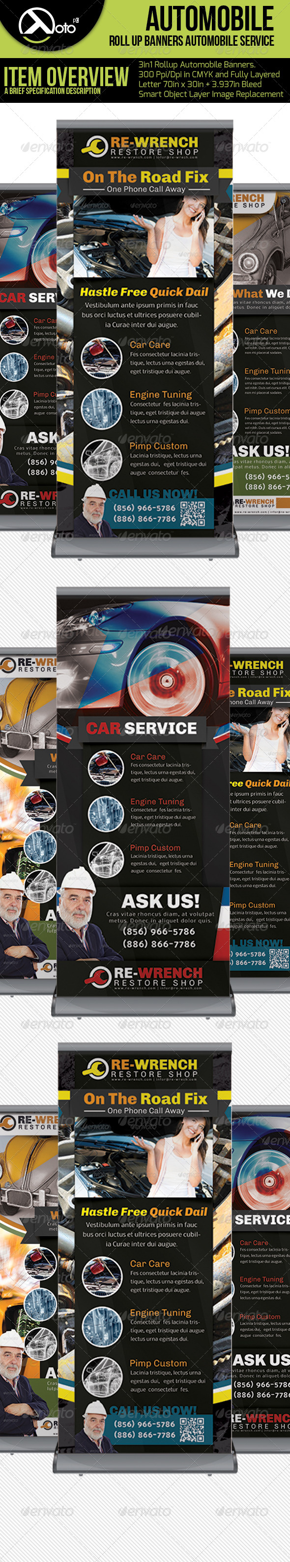 3 in 1 Auto-Mobile Roll-up Banners - Signage Print Templates