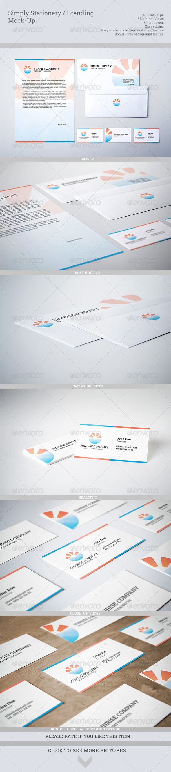 GraphicRiver Simply Stationery Branding Mock-Up 5353499