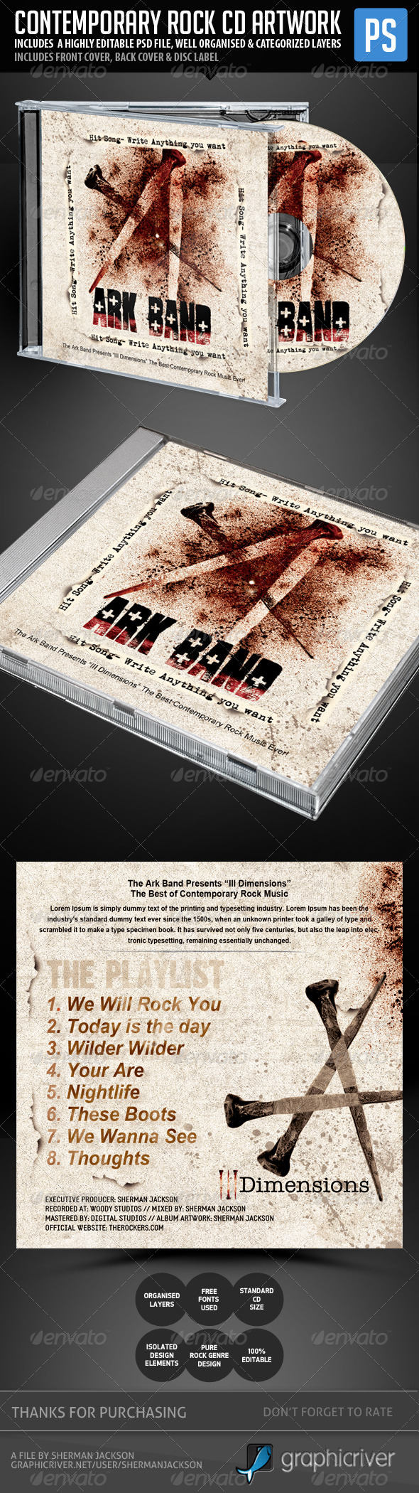 GraphicRiver Contemporary Rock CD Artwork Template 5353661