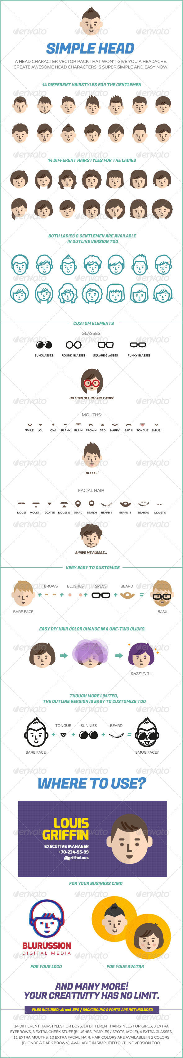 GraphicRiver Simple Head Character Design Vector Pack 5353983