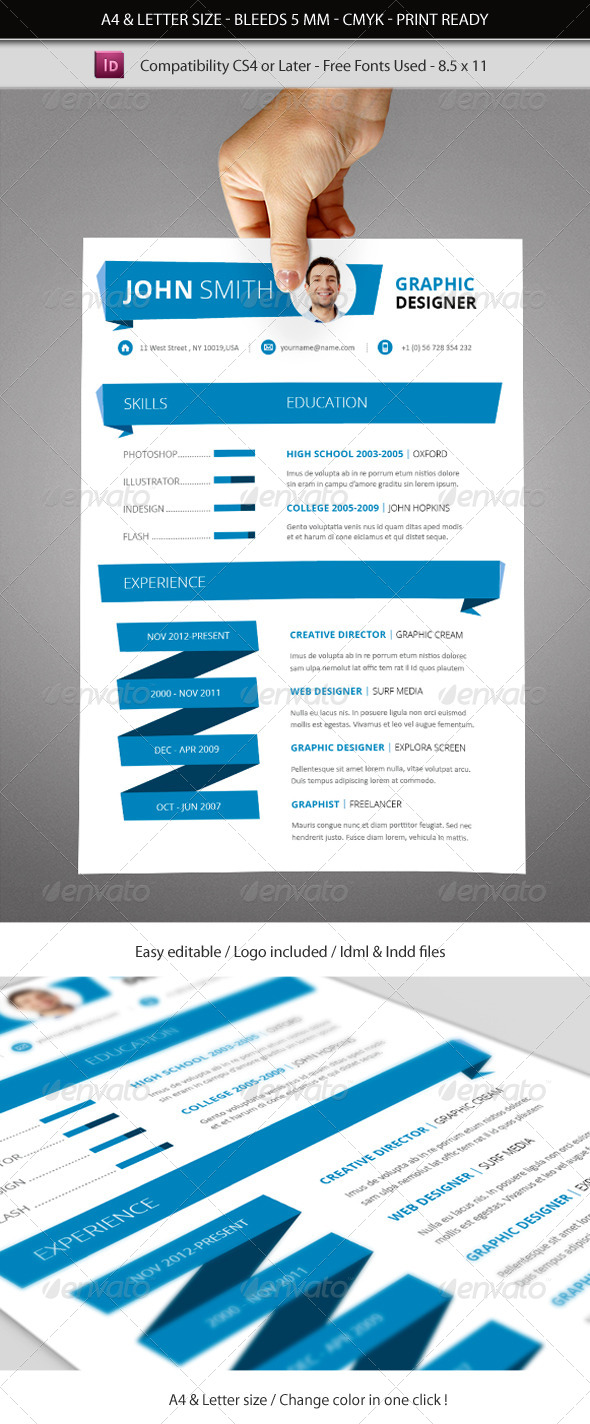 indesign resume template a4  u0026 letter size