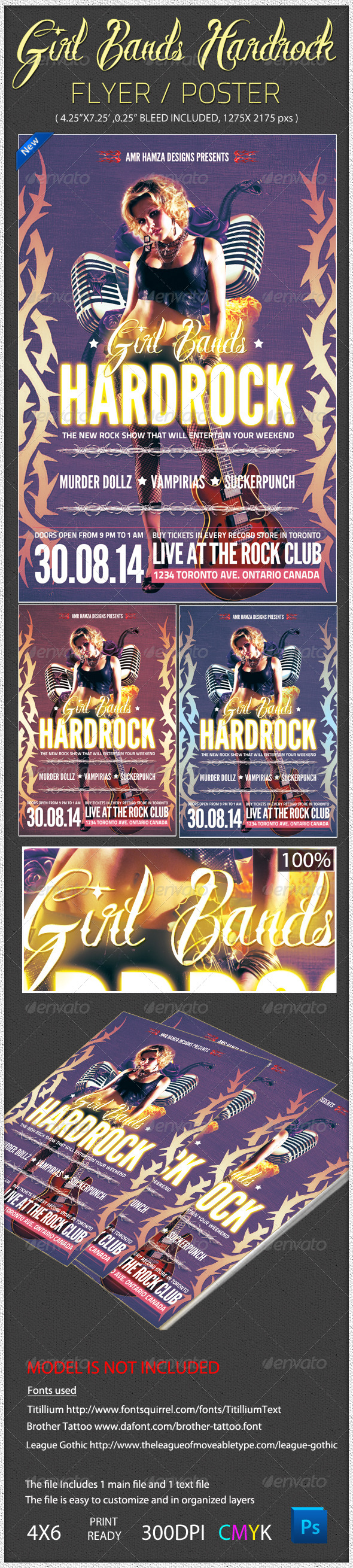 Girl Bands Hardrock Flyer Poster