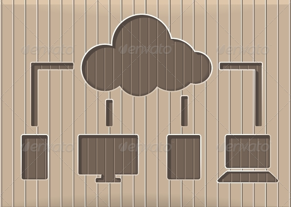 GraphicRiver Wooden Cloud Technology Background 5354204