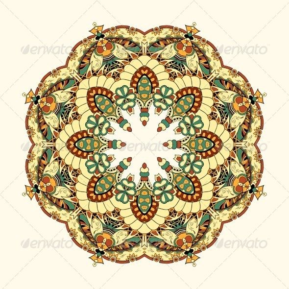 GraphicRiver Ornamental Lace Pattern Circle 5354993
