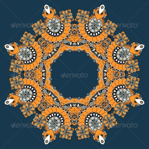 GraphicRiver Ornamental Lace Pattern Circle 5355002