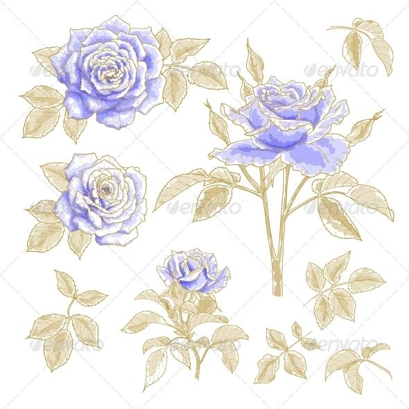 GraphicRiver Blue Roses Set 5355006