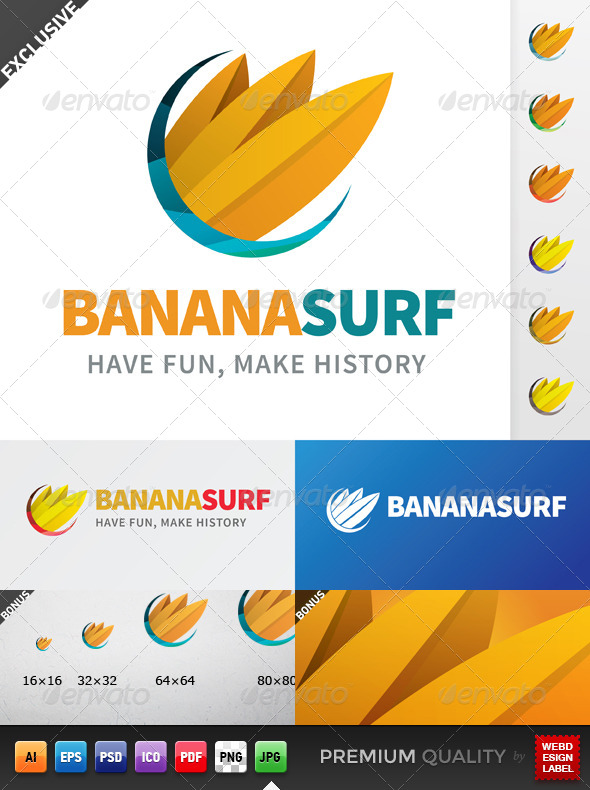 GraphicRiver Banana Surf Logo 5355058