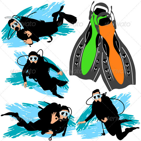 Scuba Diving Silhouettes Set
