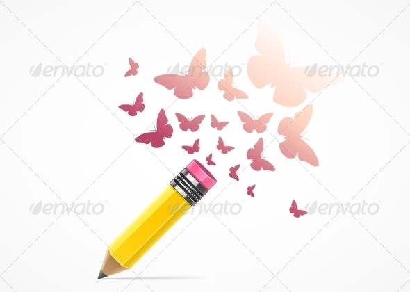 GraphicRiver Pencil with Butterflies 5355700