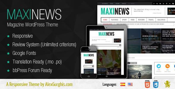 ThemeForest MaxiNews Premium Review Magazine Theme 5307971
