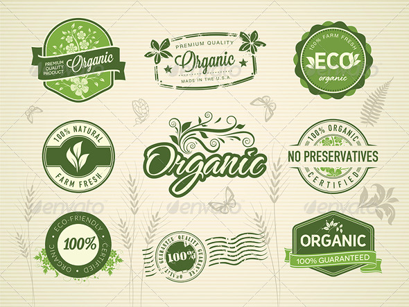 GraphicRiver 9 Organic Badges and Stamps 5355881