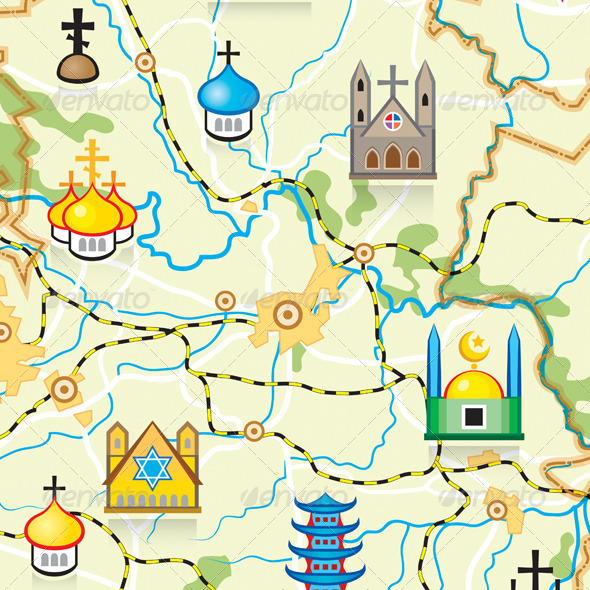 GraphicRiver Vector Map of The Country with Religious Landmarks 4230233