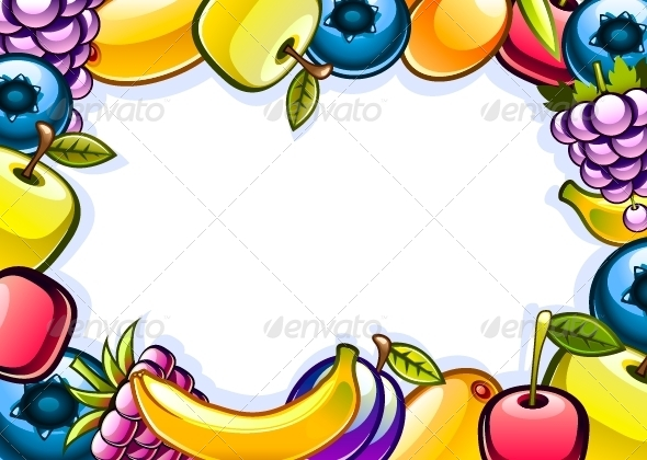 White Background with Fruits