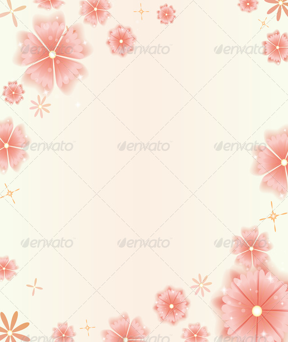 GraphicRiver Card with Pink Flowers 5357925