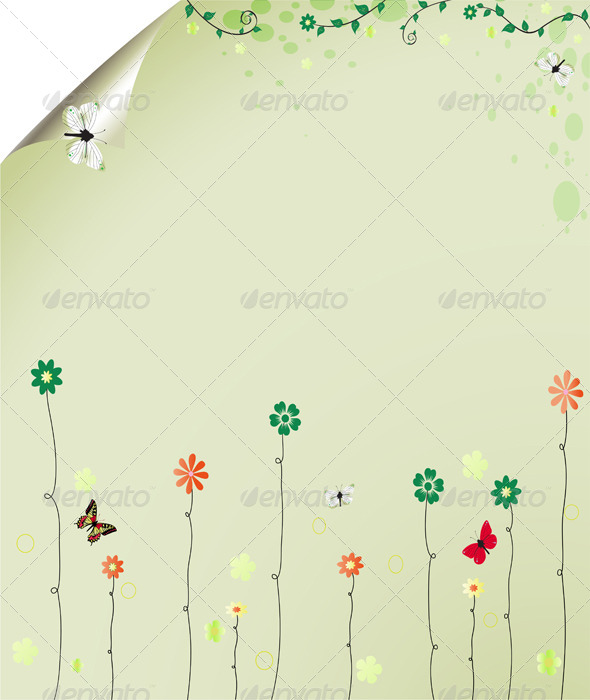 GraphicRiver Floral Summer Background with Butterflies 5357996
