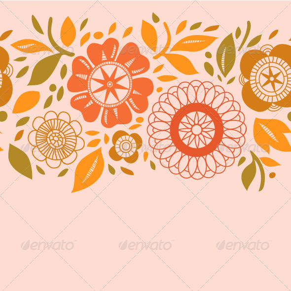 GraphicRiver Pastel Colored Flowers and Leaves Seamless Pattern 5358283