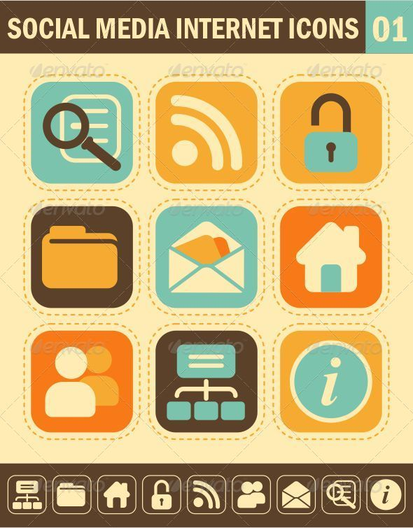 GraphicRiver Social Media Internet Icons in Retro-Style 5358523