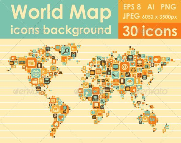 GraphicRiver World Map Icons 5358799