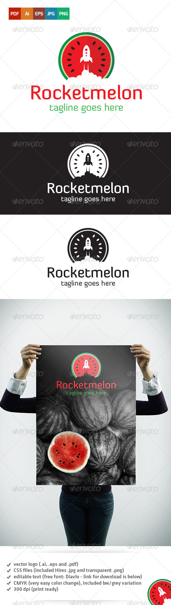 GraphicRiver Rocketmelon Logo 5359022