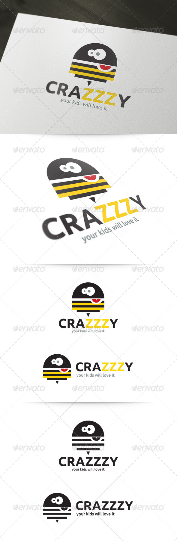 GraphicRiver Crazy Bee Logo 5359039