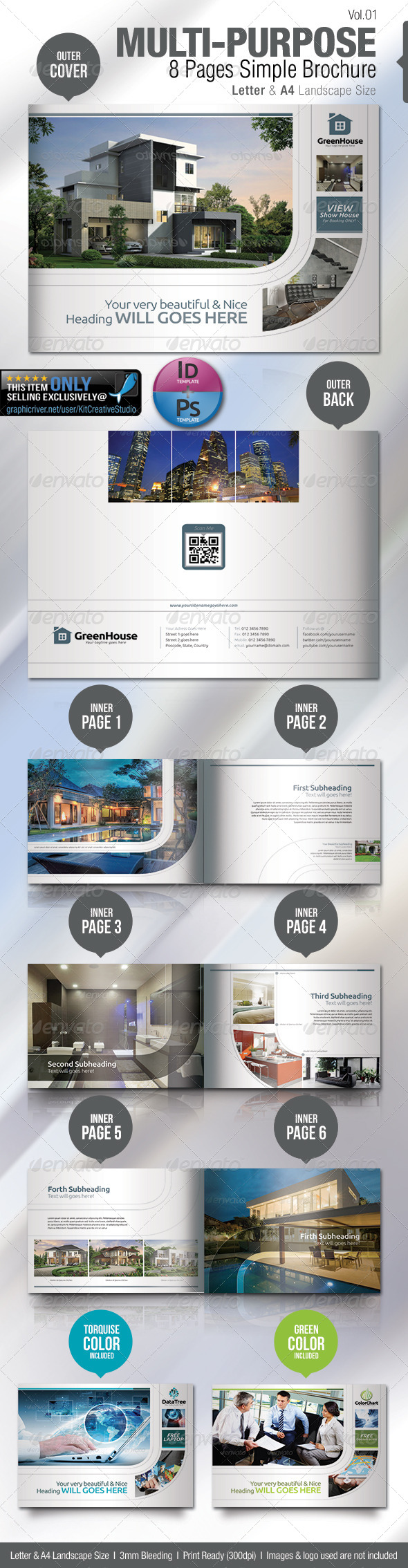 Multi-purpose 8 Pages Simple Brochure - Brochures Print Templates