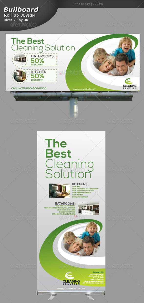 GraphicRiver Cleaning Billboard and Roll up Banner 5318346
