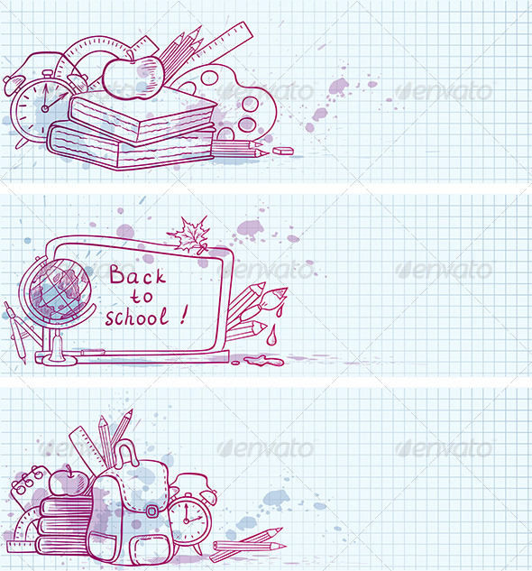 GraphicRiver School Doodle Banners 5359625