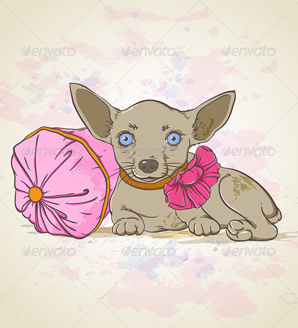 GraphicRiver Dog on Pink Pillow 5359688