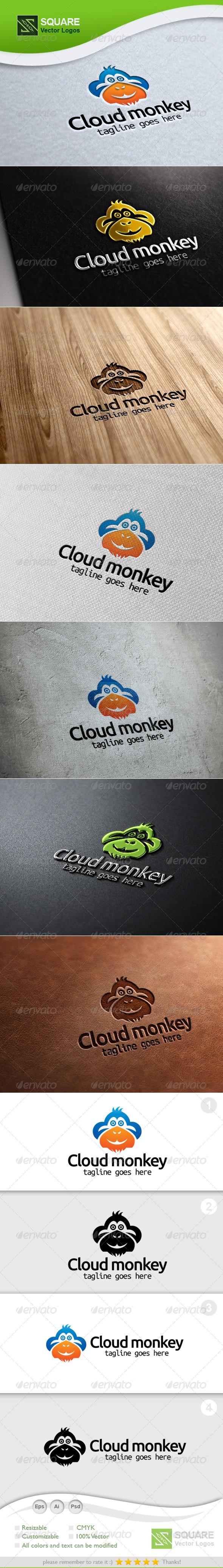 Monkey Cloud Vector Logo Template