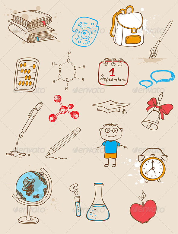 GraphicRiver Doodle School Icons 5359738