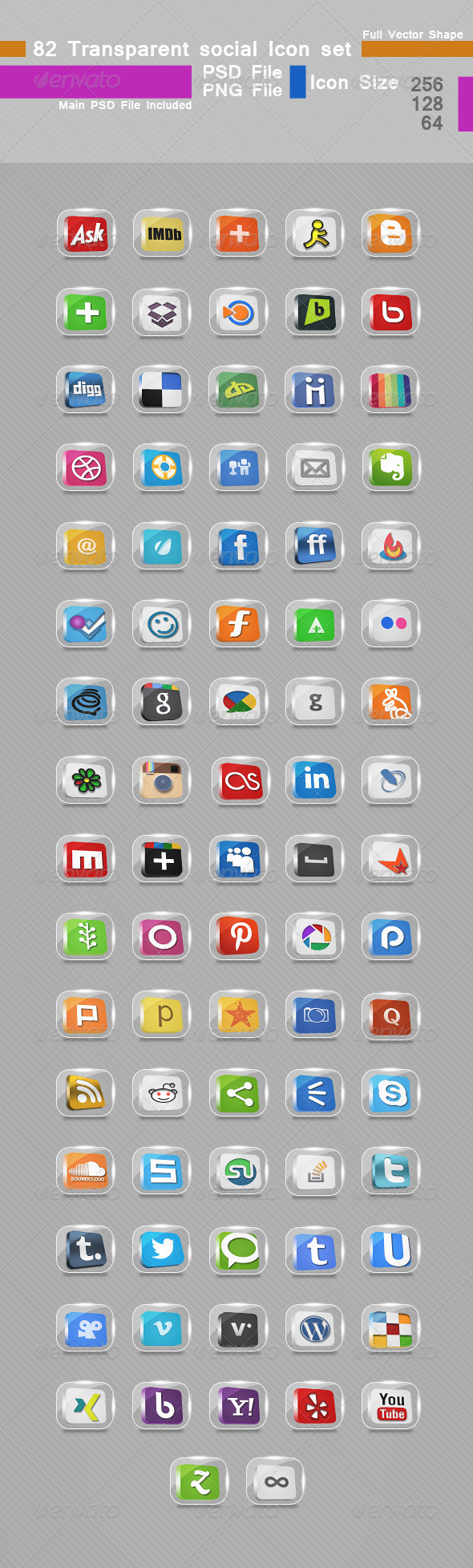 GraphicRiver 82 Transparent Social Icon set 5344703