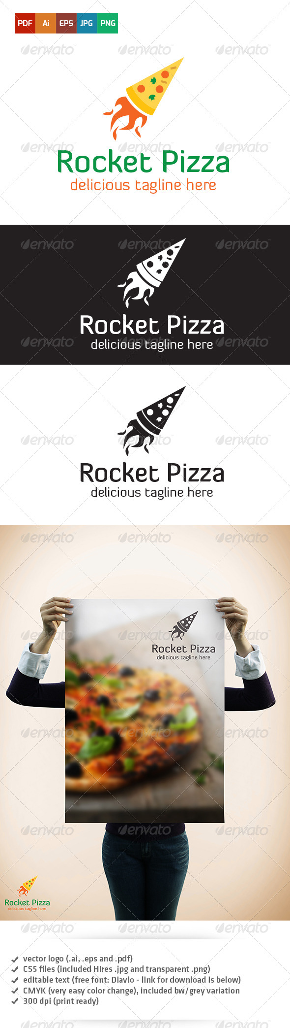GraphicRiver Rocket Pizza Logo 5360408