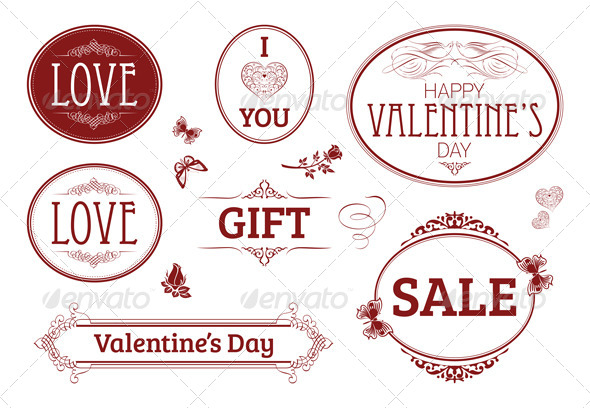 GraphicRiver Love Themed Stamps Seals Badges 5361100