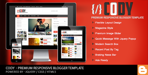 ThemeForest Cody Responsive Magazine Blogger Template 5357873