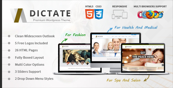 Dictate- Medical, Salon and Fashion HTML5 Template - Retail Site Templates