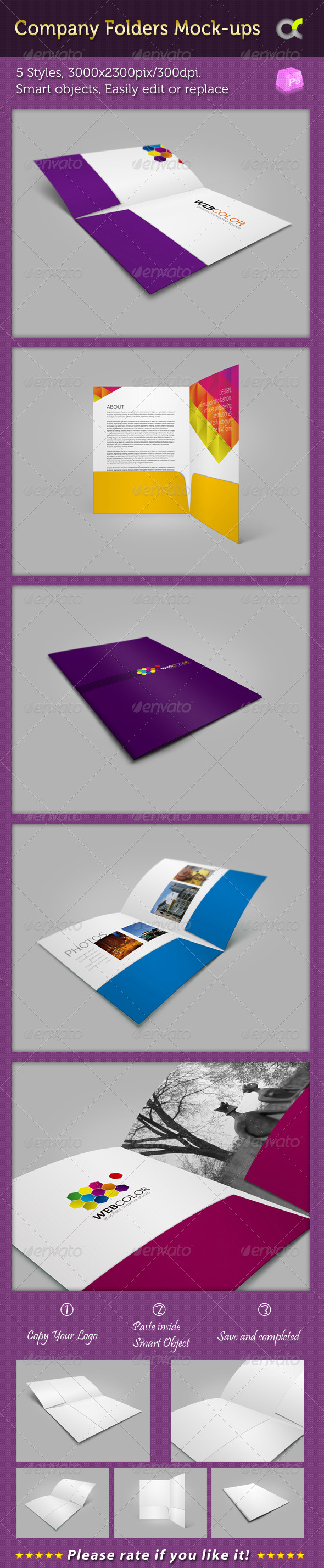 Company Folders Mock-ups - Product Mock-Ups Graphics