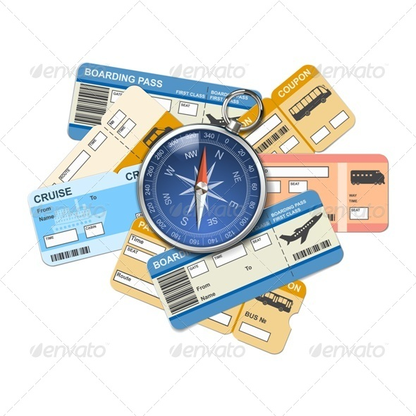 GraphicRiver Vector Compass and Tickets 5361643