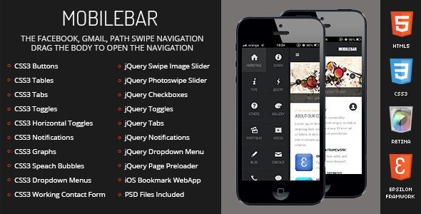 Mobilebar Mobile Retina | HTML5 & CSS3 And iWebApp - Mobile Site Templates