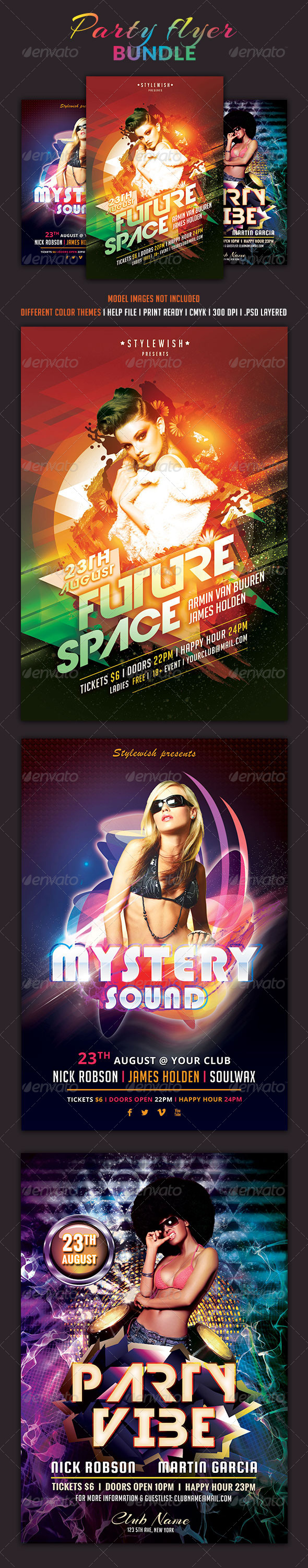 Party Flyer Bundle Vol4 - Clubs & Parties Events