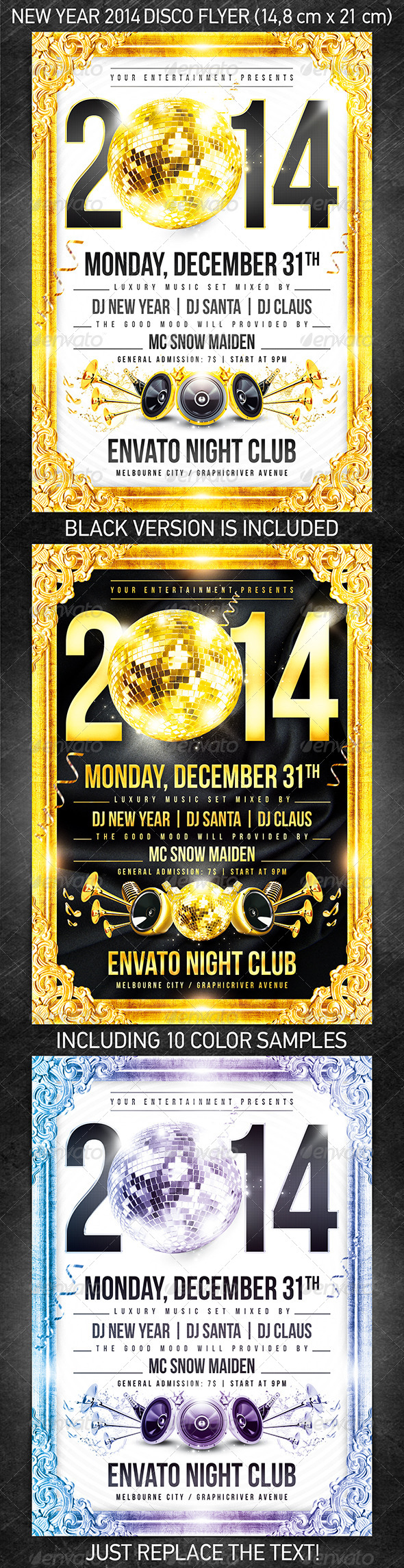 New Year 2014 disco flyer - Holidays Events