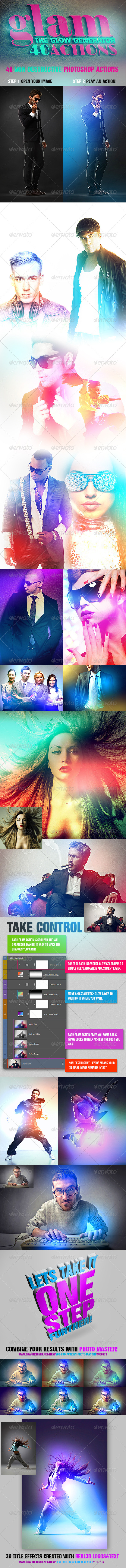 GraphicRiver Glam 40 Glow Generator Actions 5346669
