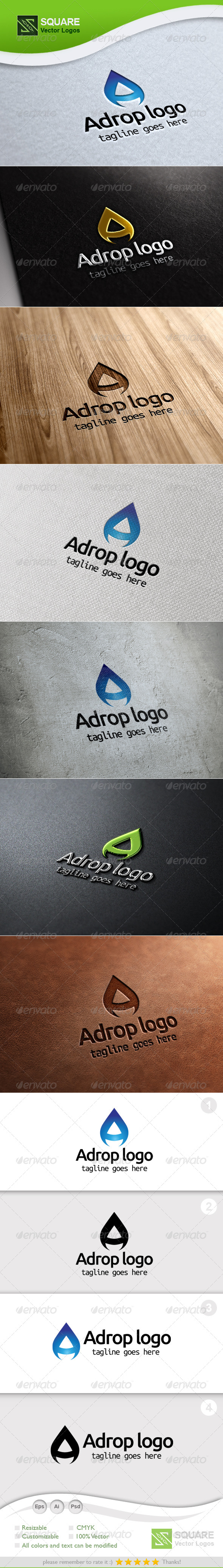 A, Drop Vector Logo Template - Letters Logo Templates