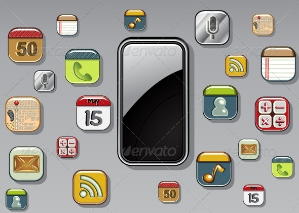 GraphicRiver Phone with Applications 5362786